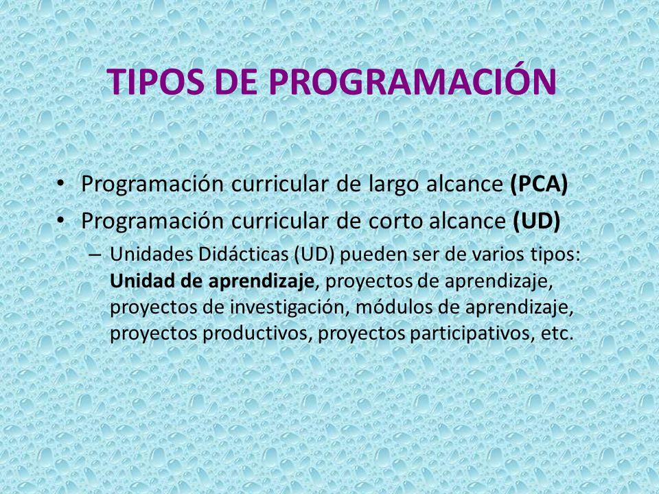 TIPOS DE PROGRAMACIÓN Programación curricular de largo alcance (PCA)