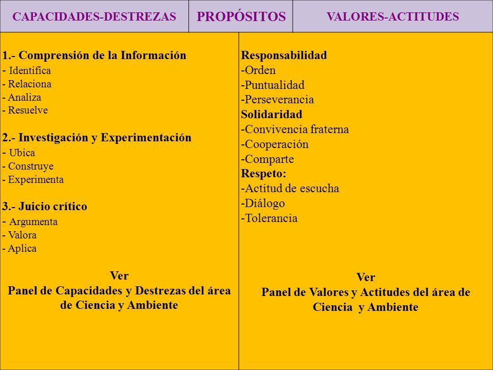 PROPÓSITOS CAPACIDADES-DESTREZAS VALORES-ACTITUDES