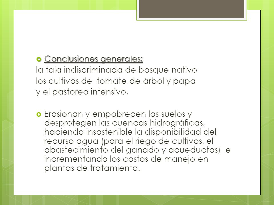 Conclusiones generales: