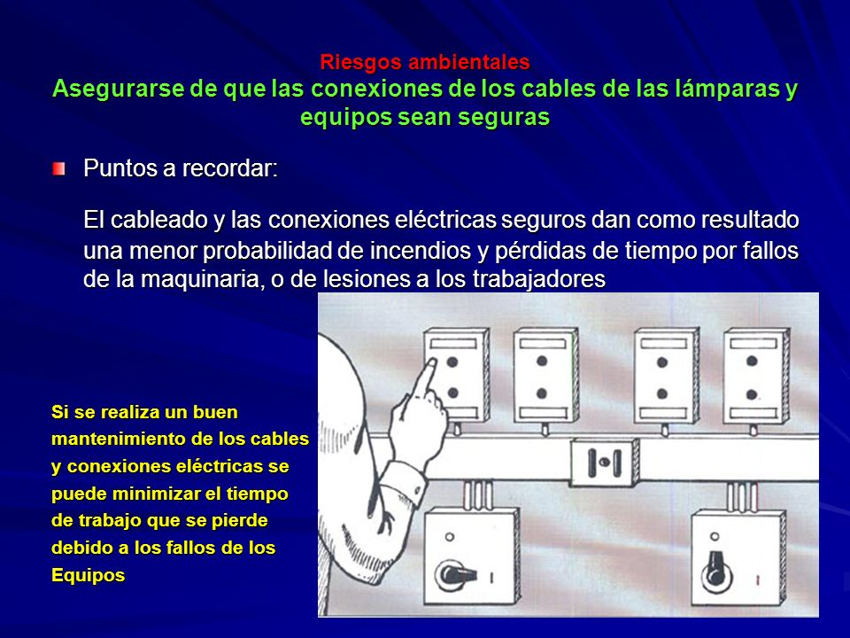 Riesgos ambientales Asegurarse de que las conexiones de los cables de las lámparas y equipos sean seguras