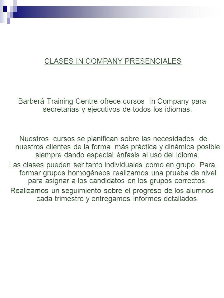 CLASES IN COMPANY PRESENCIALES