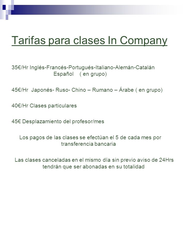 Tarifas para clases In Company