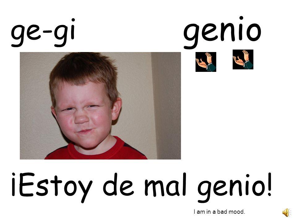 genio ge-gi ¡Estoy de mal genio! I am in a bad mood.