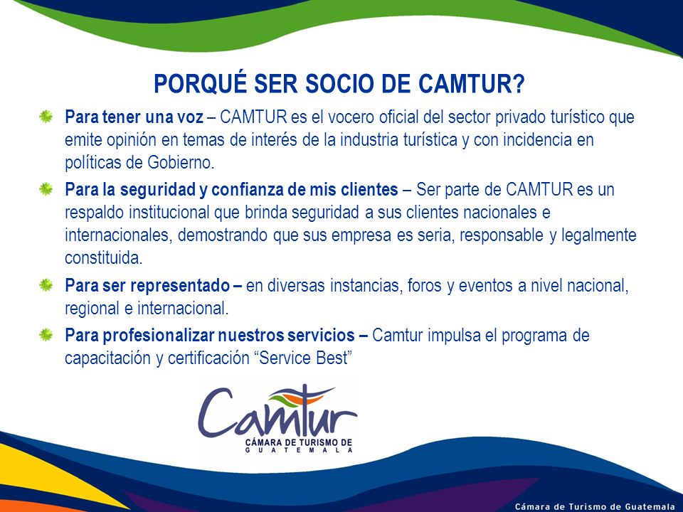PORQUÉ SER SOCIO DE CAMTUR