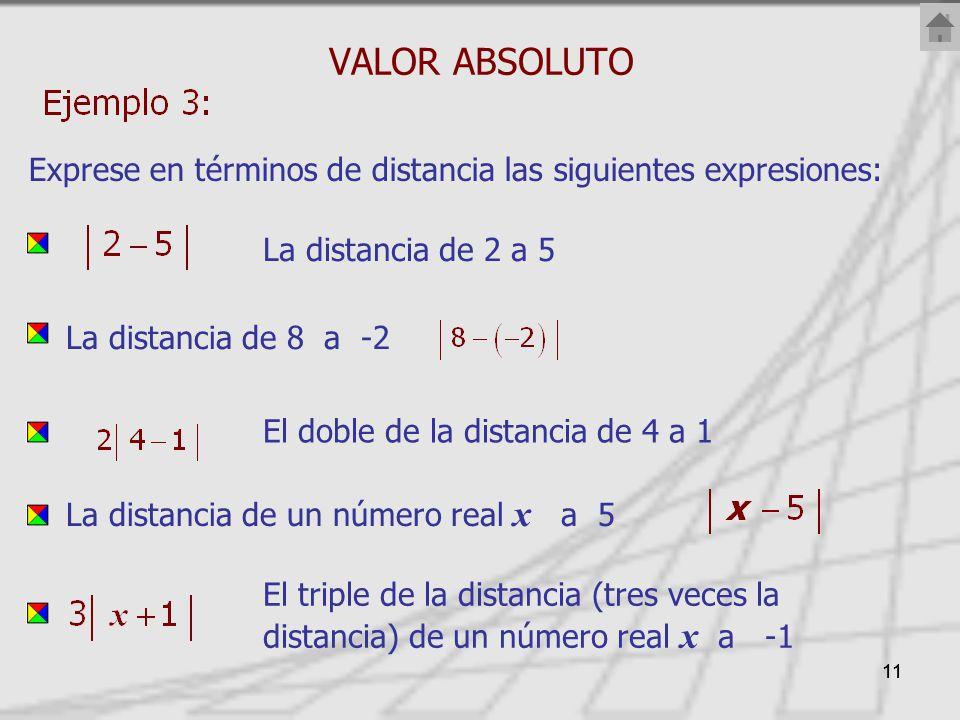 VALOR ABSOLUTO Exprese en términos de distancia las siguientes expresiones: La distancia de 2 a 5.