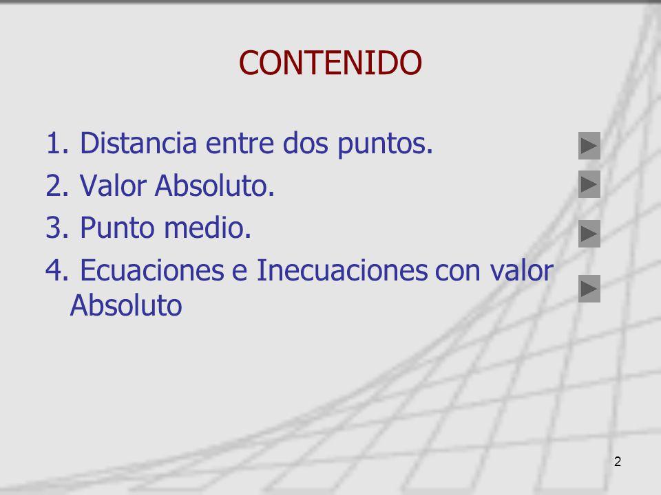 CONTENIDO 1. Distancia entre dos puntos. 2. Valor Absoluto.