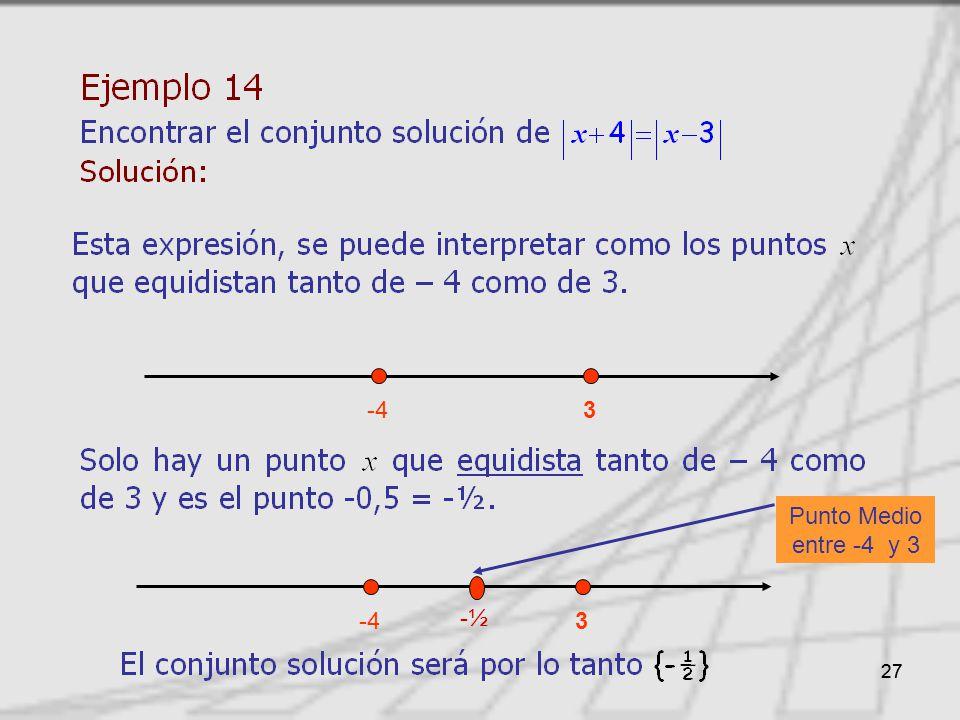 -4 3 Punto Medio entre -4 y 3 -4 3 -½ 27