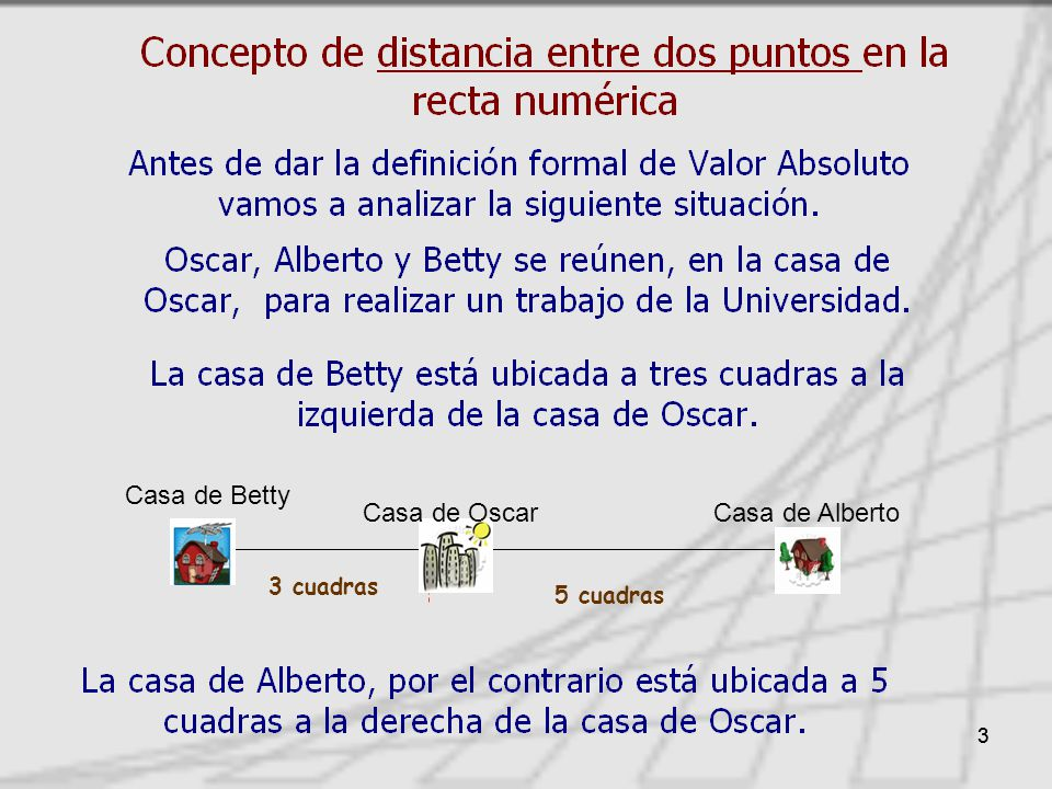 Casa de Betty Casa de Oscar Casa de Alberto 5 cuadras 3 cuadras 3