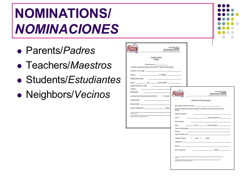 NOMINATIONS/ NOMINACIONES