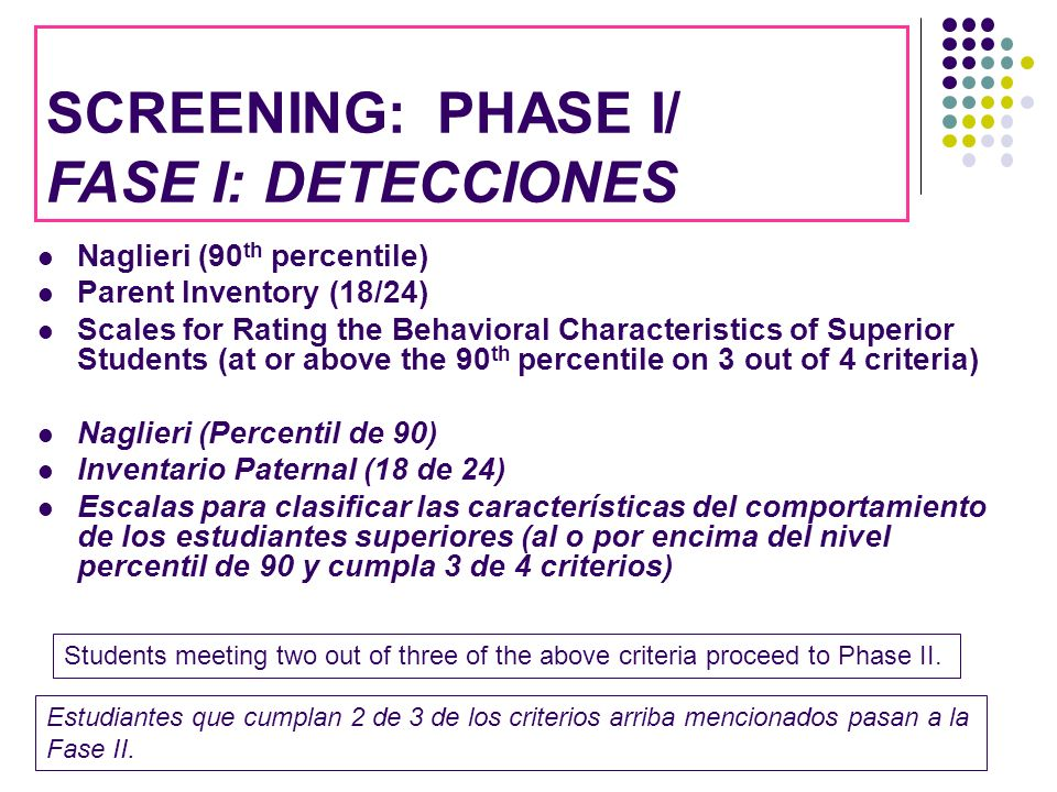 SCREENING: PHASE I/ FASE I: DETECCIONES Naglieri (90th percentile)