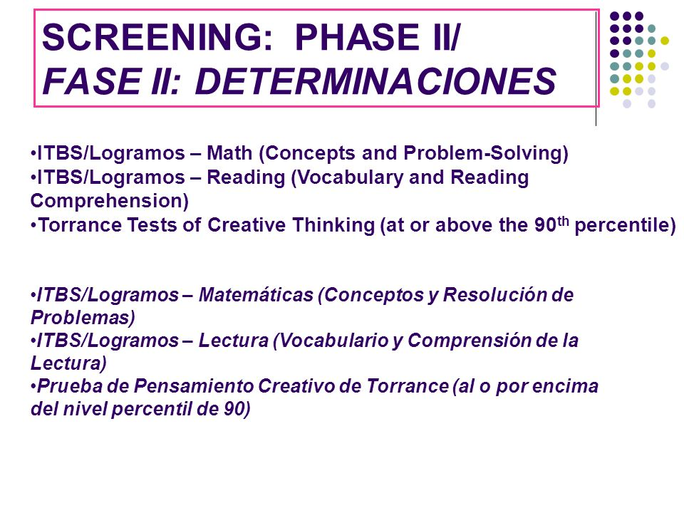SCREENING: PHASE II/ FASE II: DETERMINACIONES