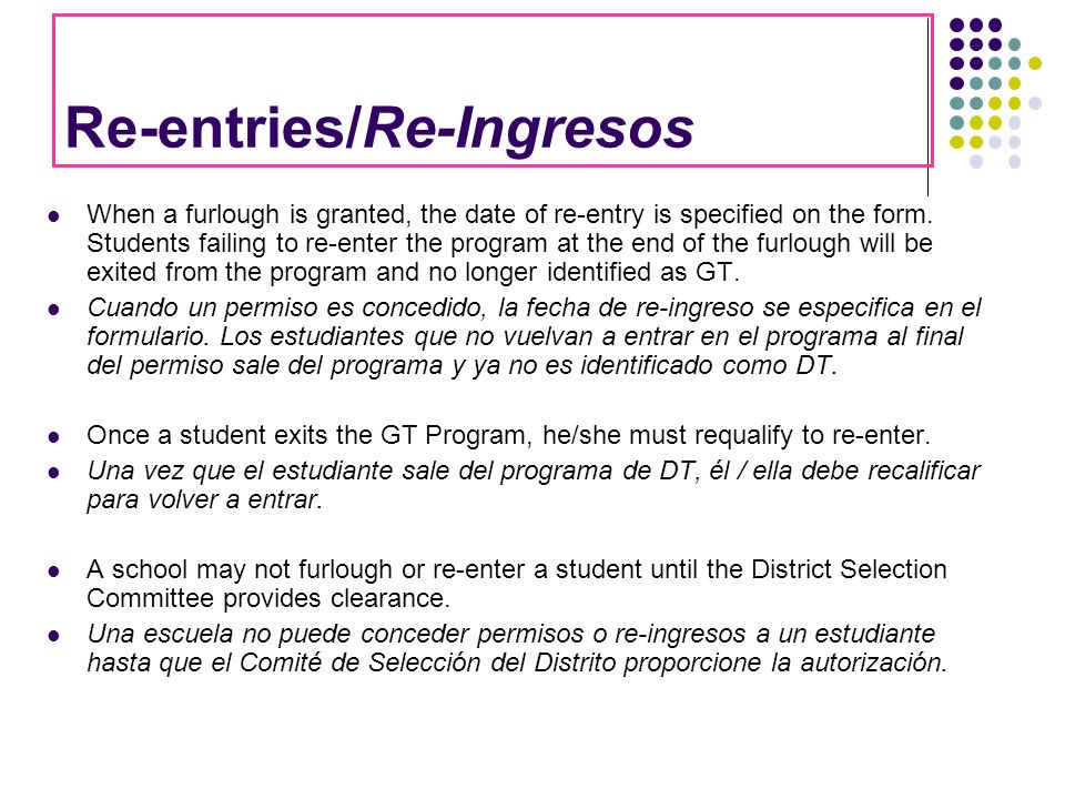 Re-entries/Re-Ingresos