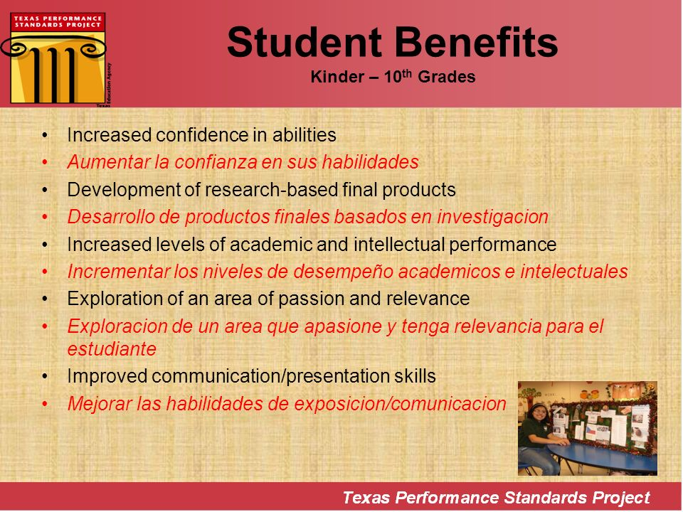 Student Benefits Kinder – 10th Grades