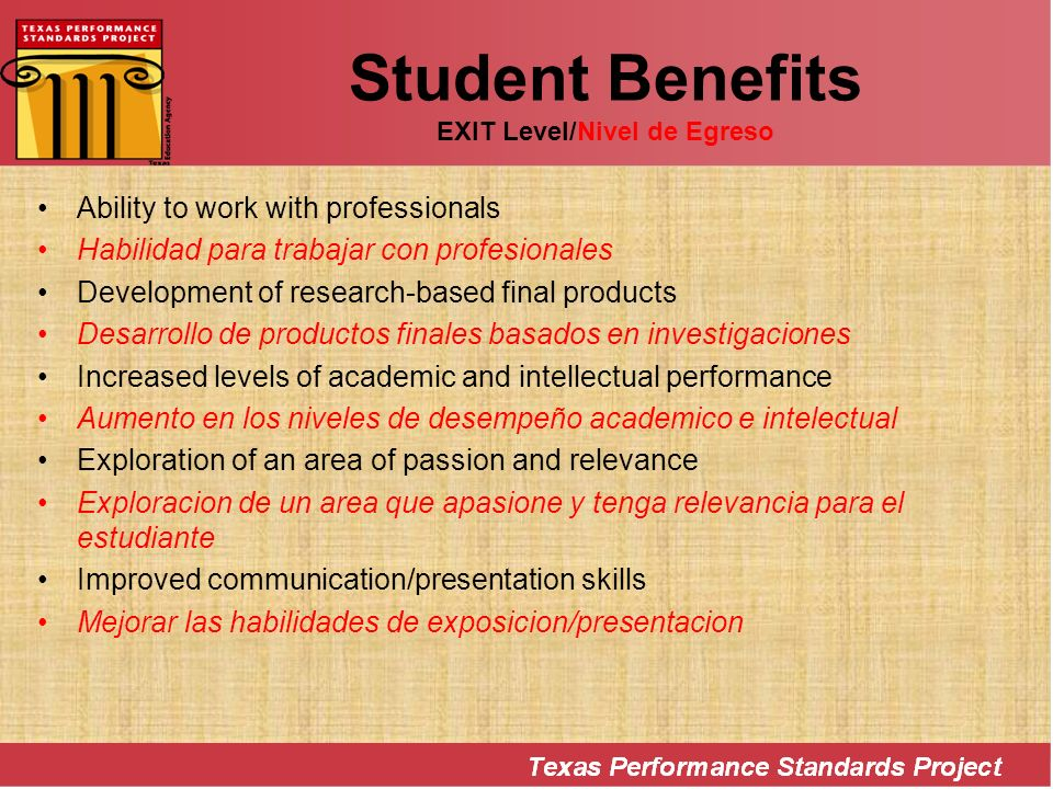 Student Benefits EXIT Level/Nivel de Egreso