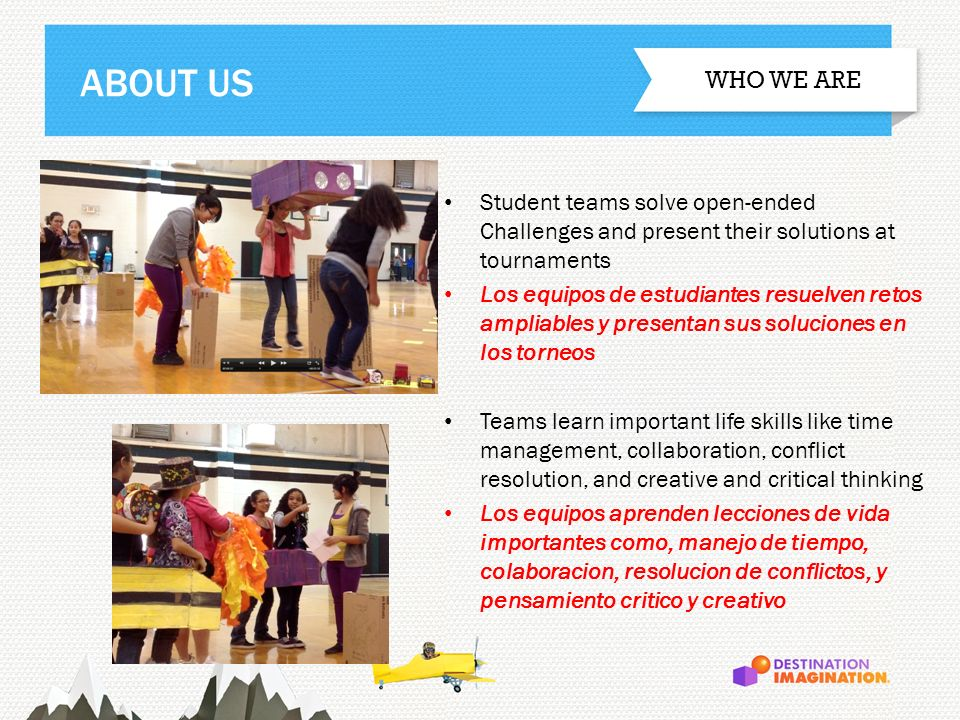 ABOUT US WHO WE ARE. Student teams solve open-ended Challenges and present their solutions at tournaments.
