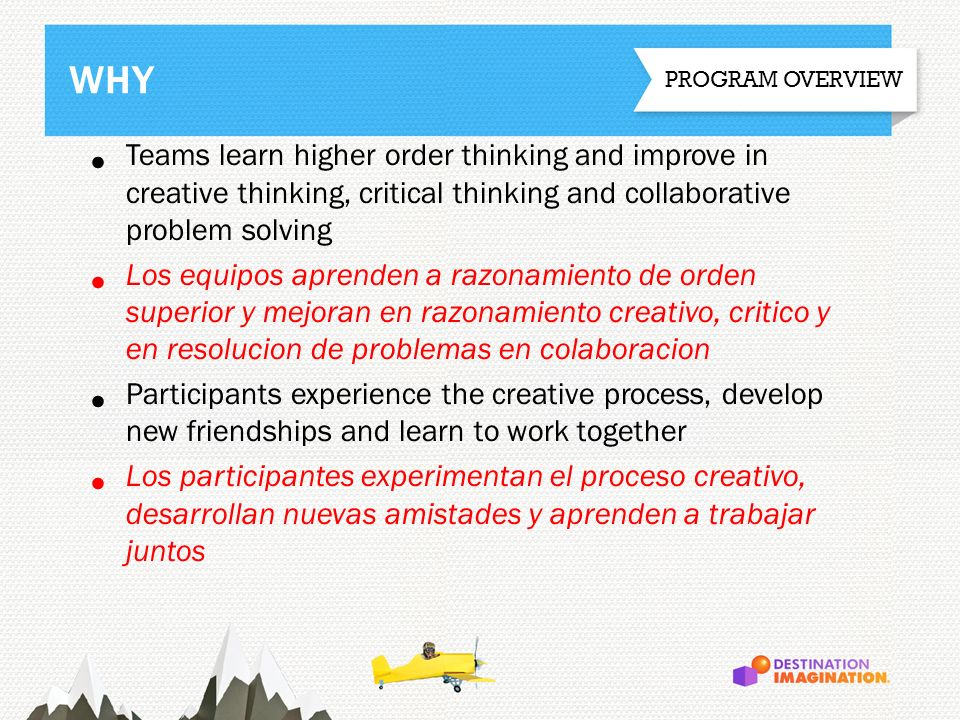 WHY PROGRAM OVERVIEW. Teams learn higher order thinking and improve in creative thinking, critical thinking and collaborative problem solving.