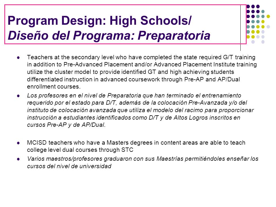 Program Design: High Schools/ Diseño del Programa: Preparatoria