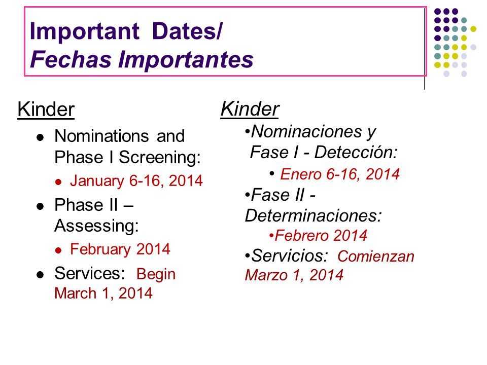 Important Dates/ Fechas Importantes