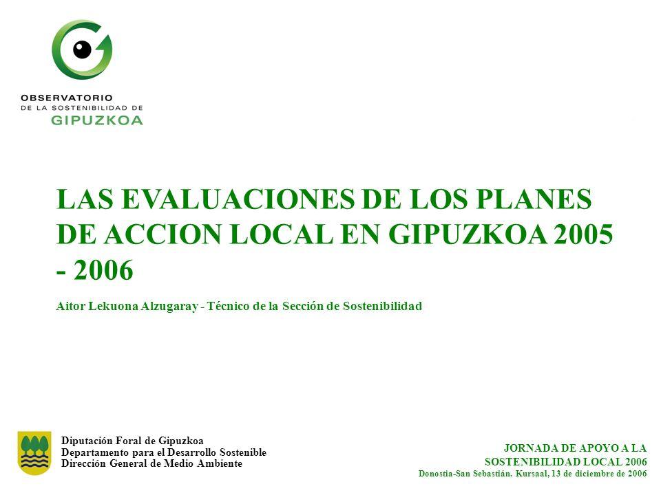 LAS EVALUACIONES DE LOS PLANES DE ACCION LOCAL EN GIPUZKOA 2005 - 2006 Aitor Lekuona Alzugaray - Técnico de la Sección de Sostenibilidad