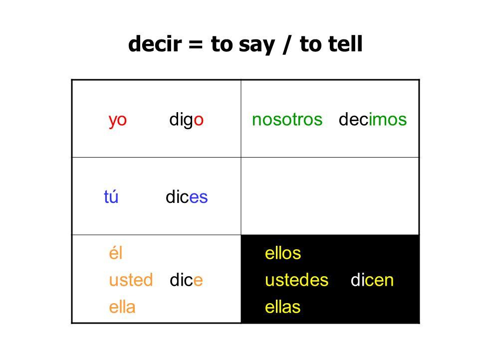 decir = to say / to tell yo digo nosotros decimos tú dices él