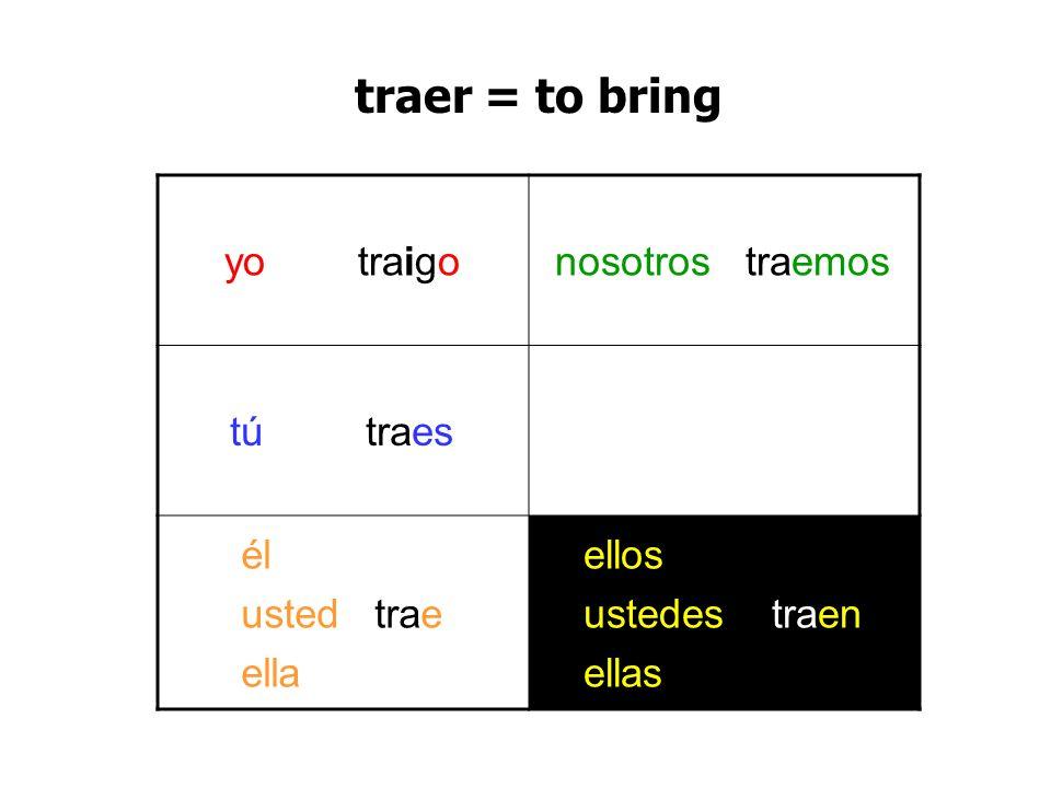 traer = to bring yo traigo nosotros traemos tú traes él usted trae