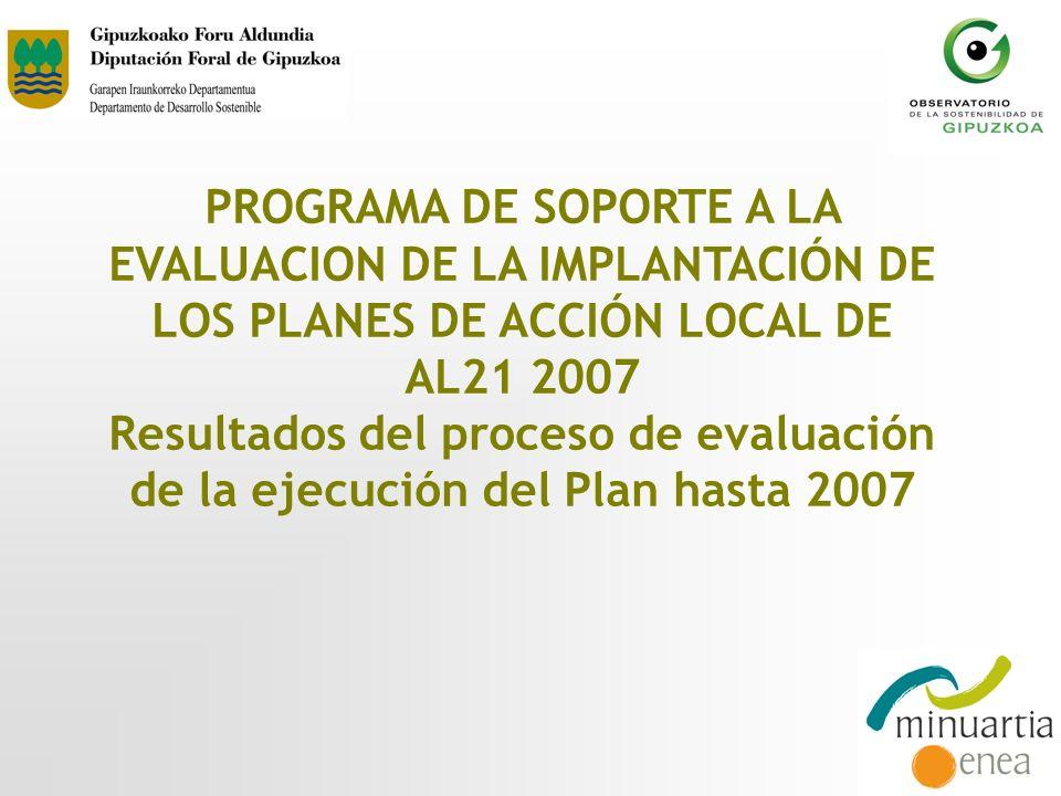 PROGRAMA DE SOPORTE A LA EVALUACION DE LA IMPLANTACIÓN DE LOS PLANES DE ACCIÓN LOCAL DE AL21 2007