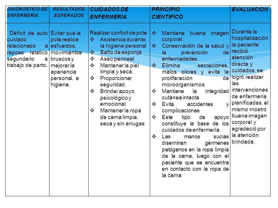 CUIDADOS DE ENFERMERIA PRINCIPIO CIENTIFICO EVALUACION