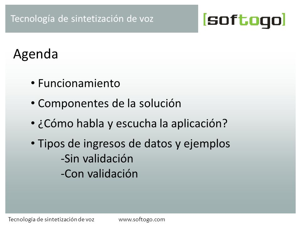 Agenda Funcionamiento Componentes de la solución