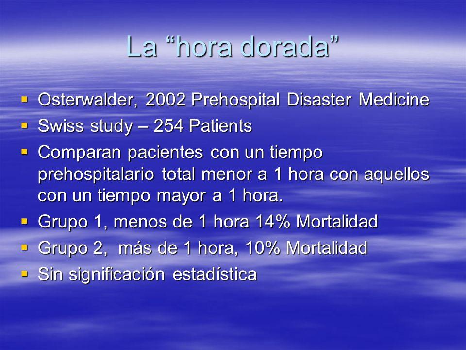 La hora dorada Osterwalder, 2002 Prehospital Disaster Medicine