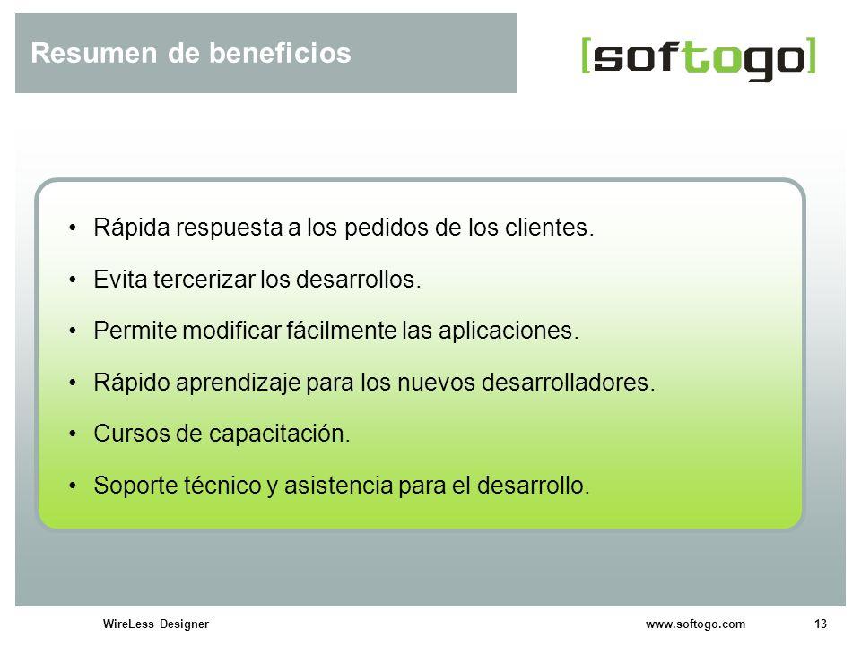 Resumen de beneficios Rápida respuesta a los pedidos de los clientes.