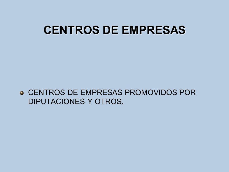 CENTROS DE EMPRESAS CENTROS DE EMPRESAS PROMOVIDOS POR DIPUTACIONES Y OTROS.