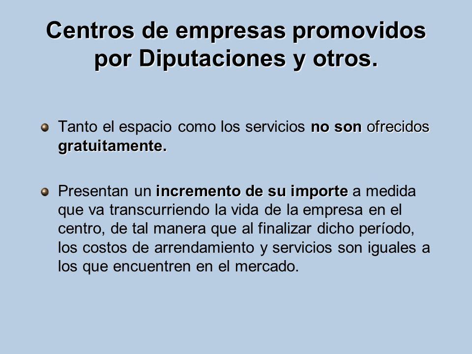 Centros de empresas promovidos por Diputaciones y otros.