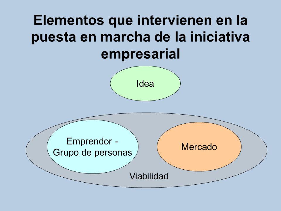 Elementos que intervienen en la puesta en marcha de la iniciativa empresarial