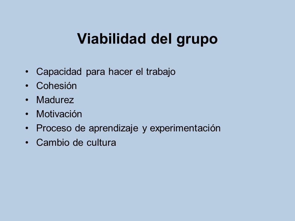 Viabilidad del grupo Capacidad para hacer el trabajo Cohesión Madurez