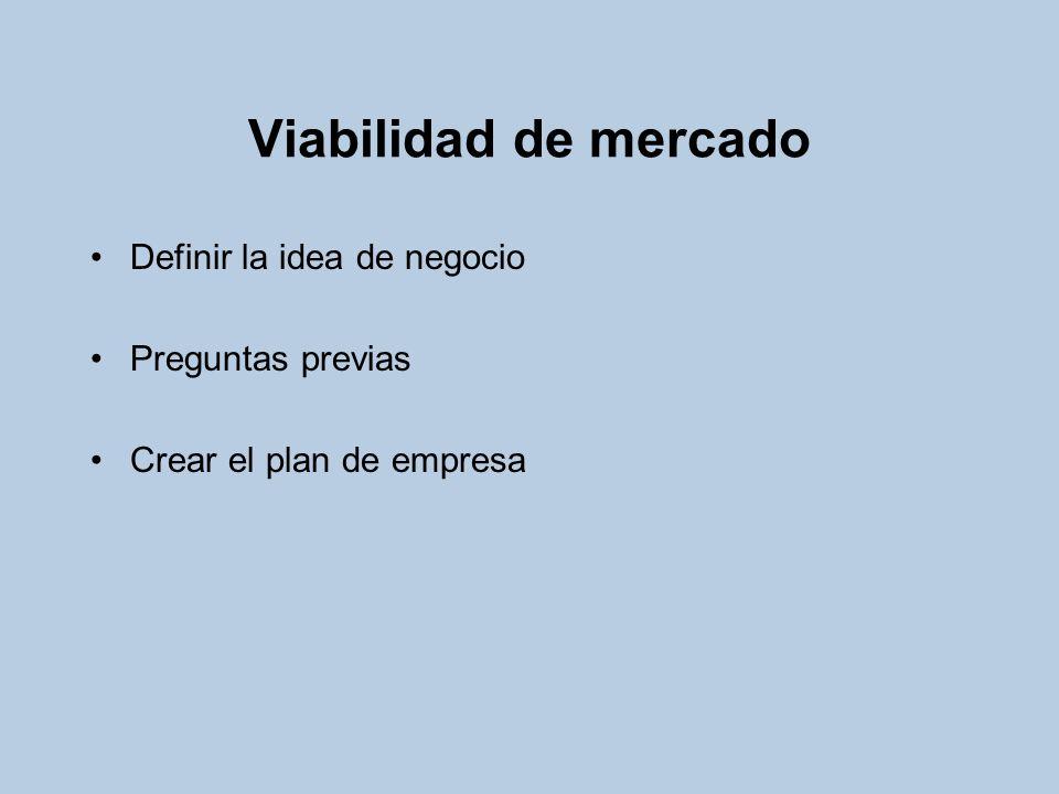 Viabilidad de mercado Definir la idea de negocio Preguntas previas