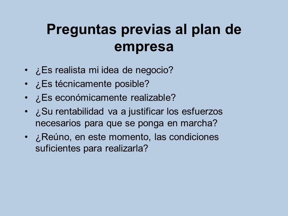 Preguntas previas al plan de empresa