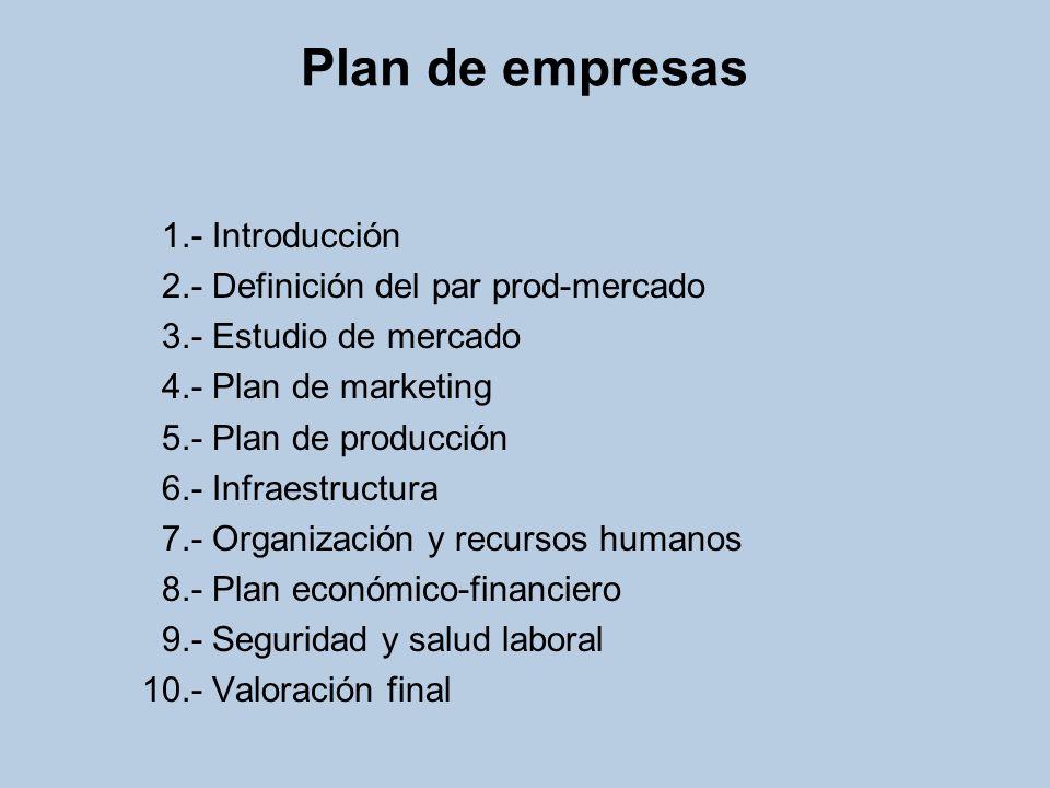Plan de empresas 1.- Introducción 2.- Definición del par prod-mercado