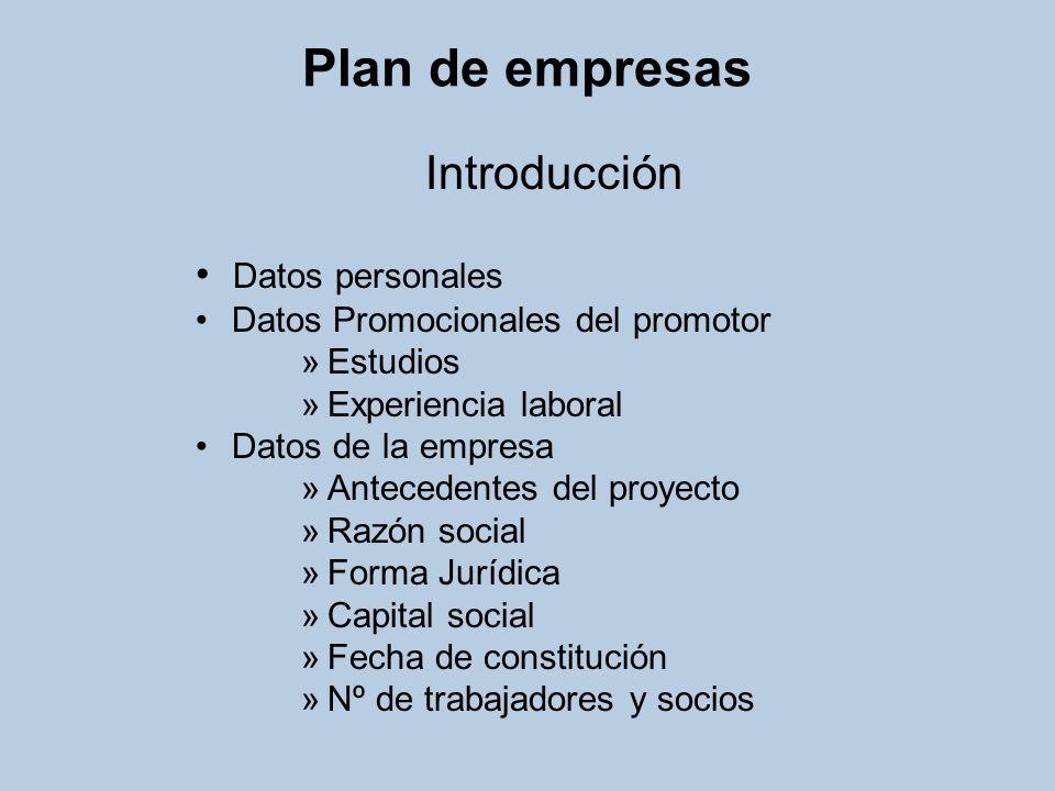 Plan de empresas Introducción Datos personales