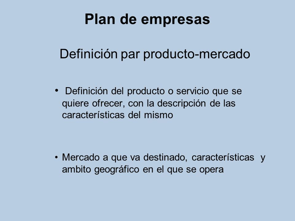 Definición par producto-mercado