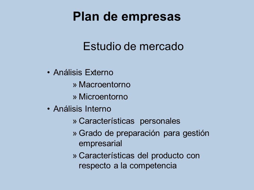 Plan de empresas Estudio de mercado Análisis Externo Macroentorno
