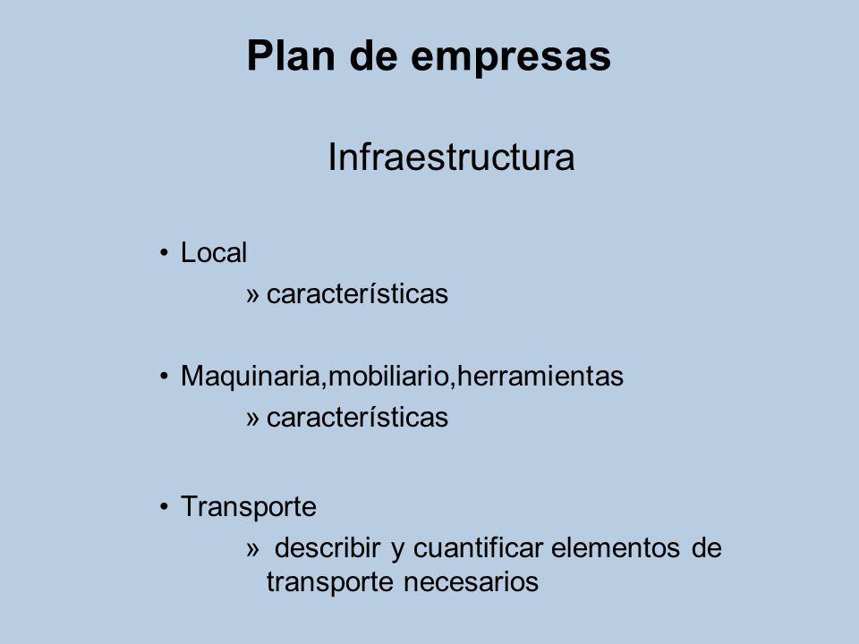 Plan de empresas Infraestructura Local características