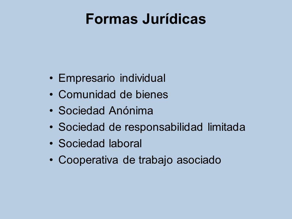 Formas Jurídicas Empresario individual Comunidad de bienes