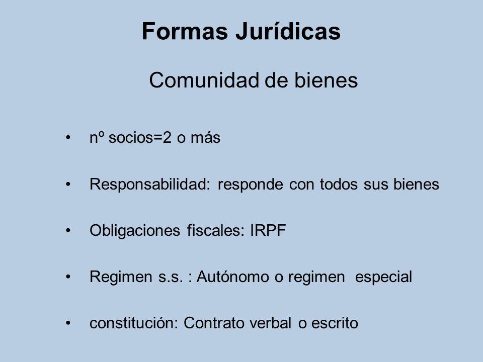 Formas Jurídicas Comunidad de bienes nº socios=2 o más