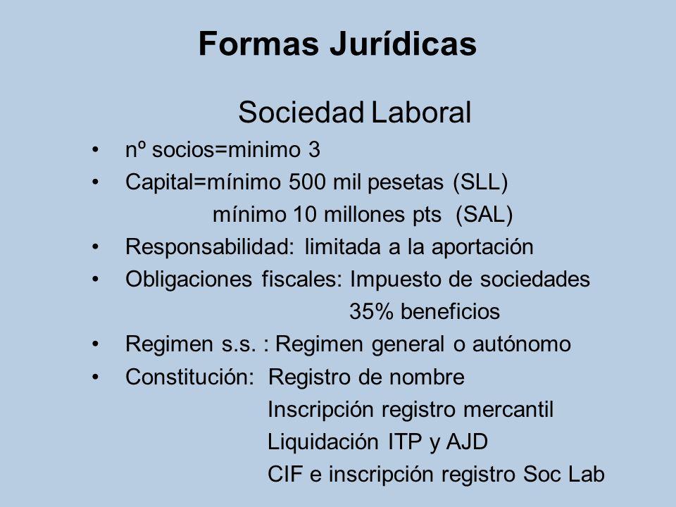 Formas Jurídicas Sociedad Laboral nº socios=minimo 3