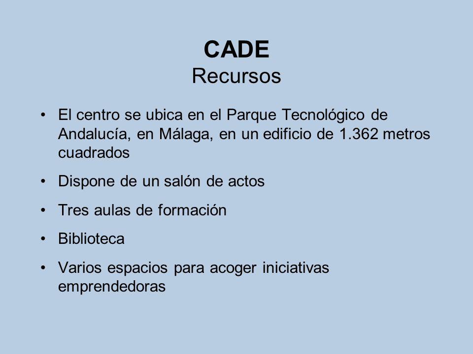 CADE Recursos El centro se ubica en el Parque Tecnológico de Andalucía, en Málaga, en un edificio de 1.362 metros cuadrados.