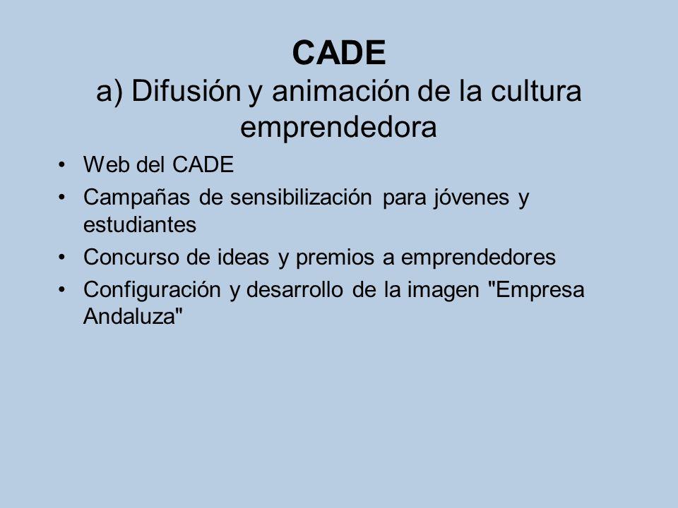 CADE a) Difusión y animación de la cultura emprendedora