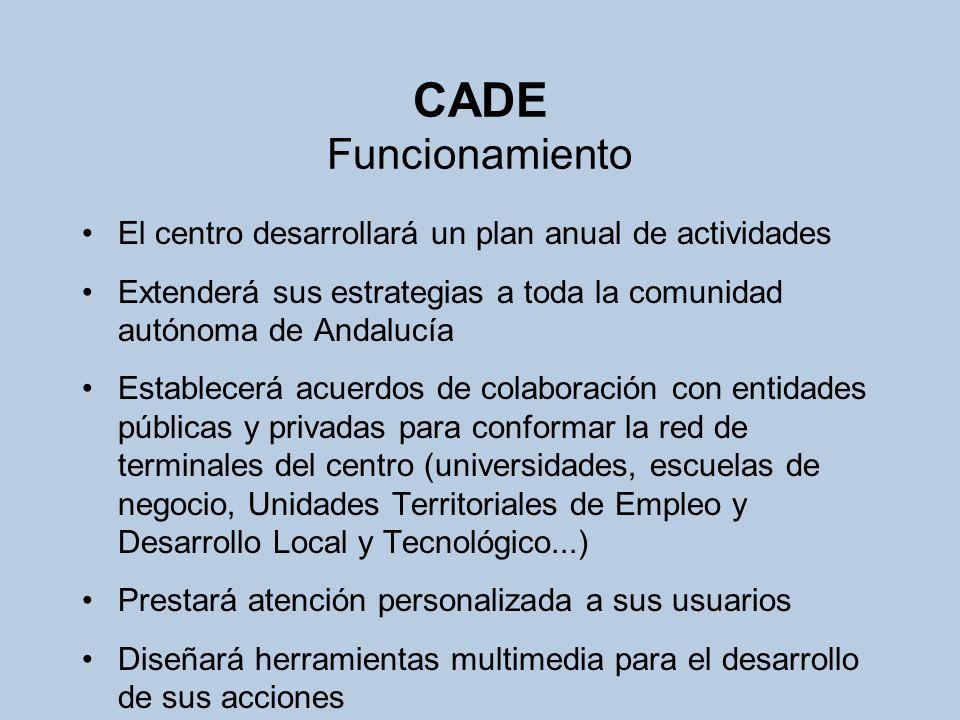 CADE FuncionamientoEl centro desarrollará un plan anual de actividades. Extenderá sus estrategias a toda la comunidad autónoma de Andalucía.