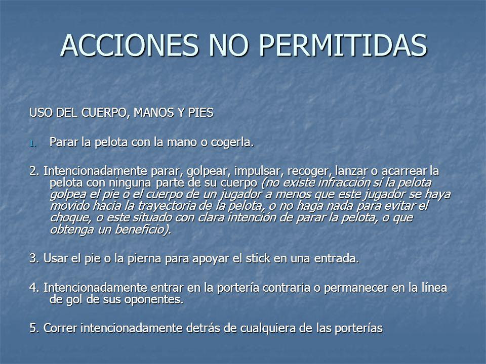 ACCIONES NO PERMITIDAS