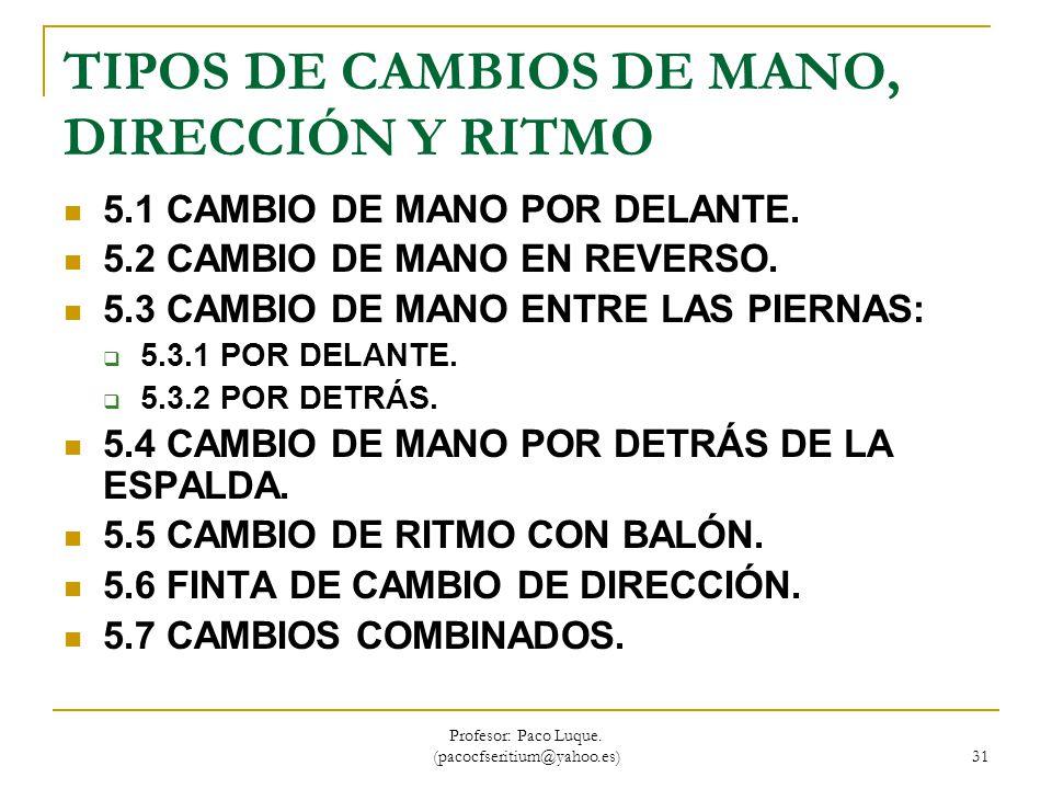 TIPOS DE CAMBIOS DE MANO, DIRECCIÓN Y RITMO