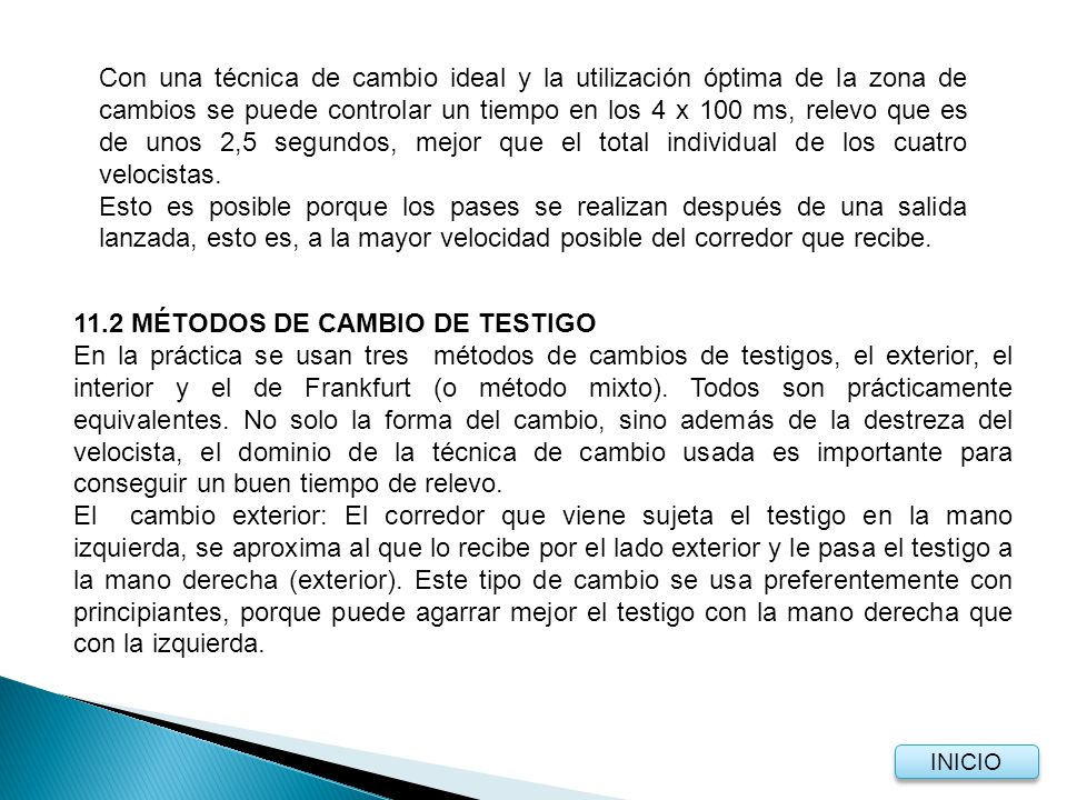 11.2 MÉTODOS DE CAMBIO DE TESTIGO